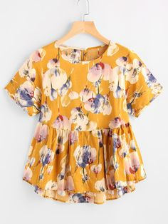 Shop Flower Print Keyhole Back Dip Hem Smock Blouse online. SheIn offers Flower Print Keyhole Back Dip Hem Smock Blouse & more to fit your fashionable needs.