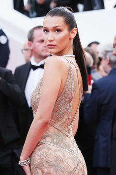 Bella Hadid opted for a sleek high ponytail in Cannes.