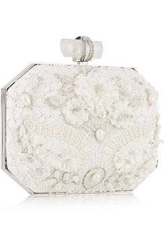 Marchesabridal clutch with pearls & crystals.