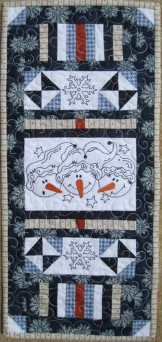 Buddies Love the fabrics but would do snowflakes in center block because I want to display a snowman my mom gave me