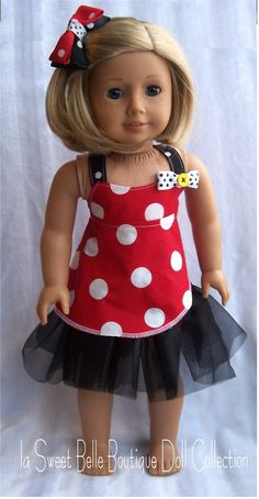 American Girl Doll Mickey Minnie Mouse Wrap Top and Skirt American Doll Clothes, Ag Doll Clothes, Doll Clothes Patterns, Doll Patterns, Ag Clothing, Journey Girls, Girl Dolls, Ag Dolls, Sewing Dolls