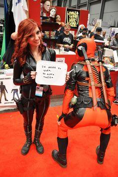 Cosplay Ideas Black Widow and Deadpool (Marvel) Amazing Cosplay, Best Cosplay, Marvel Dc Comics, Marvel Heroes, Deadpool Funny, Deadpool Cosplay, Wade Wilson, Cosplay Tutorial, Spideypool