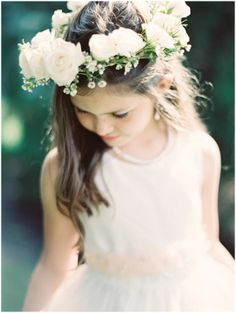 Obsessed with this flower girl's flower crown. Get the look with the hair and makeup experts at Vênsette: Vensette.com/bridal_inquiries