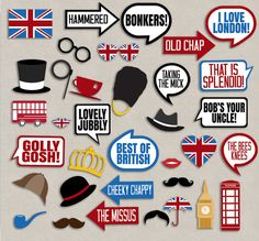 35 British Photo Booth Props, British themed party props, i love london party…
