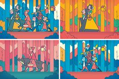 Illustrated wallpaper by Ale Giorgini. Colors, stroke width, style are on point!