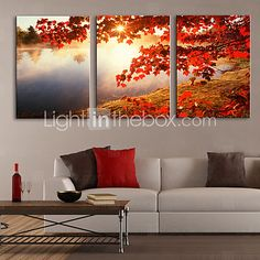 Stretched Canvas Print Art Landscape Tree by Lake Set of 3 | LightInTheBox