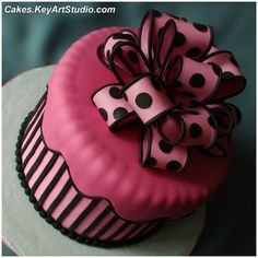 Pink and black stripes and dots cake!