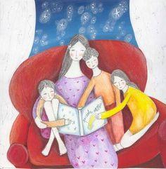 Leyendo en familia (ilustración de Tiziana Rinaldi)