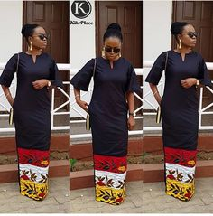 Plain and ankara mix African Maxi Dresses, African Fashion Ankara, Ankara Gowns, African Inspired Fashion, African Dresses For Women, Ankara Dress, African Print Fashion, African Attire, African Wear