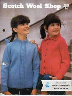 vintage childrens sweater jacket knitting pattern pdf DK cable panel jumper cardigan with collar 26-32 inch DK light worsted 8ply Download by coutureknitcrochet on Etsy