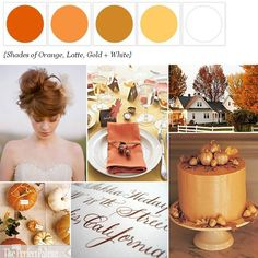 The Perfect Palette: {Little Harvest Bride}: Shades of Orange, Latte, Gold + White
