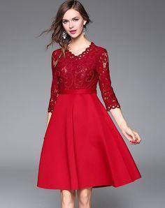#AdoreWe #VIPme A-Line Dresses - Qeexi Red Elegant Lace Paneled A Line Midi Dress - AdoreWe.com