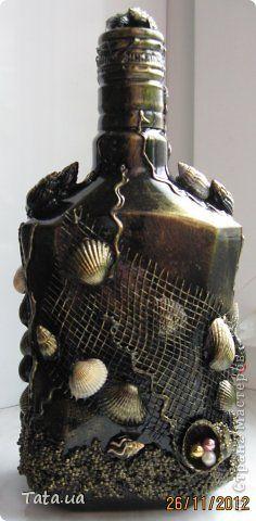 Декор предметов Аппликация из скрученных жгутиков Бутылочки Бисер Бусины Бутылки стеклянные Клей Крупа Ракушки Салфетки фото 7
