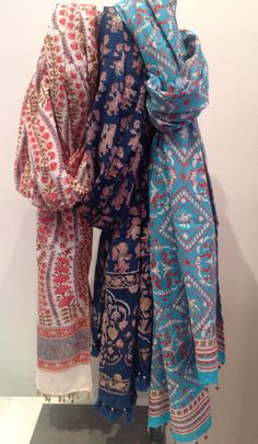 Cotton block printed scarves from Rasany $33