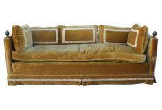 Velvet Sofa w/ Brass Acorn Finials