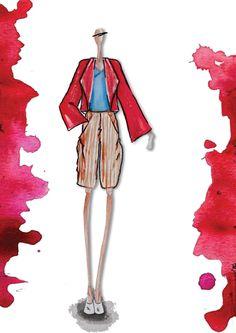 """""""into the color"""" collezione donna S\S 2013 giacca corallo: misto di cotone e lino bermuda linea morbida: millerighe my fashion portfolio photoshop sketches"""