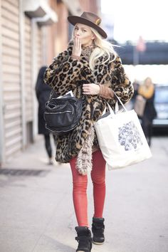 chunky knits and red skinnies