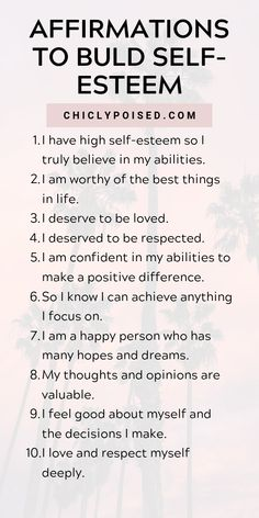 The Law of Attraction belief insists one can materialize what one truly believes and focuses on - whether it's positive or negative. Here's how to use the Law Of Attraction and positive affirmations to build self-esteem. Daily Positive Affirmations, Positive Affirmations Quotes, Morning Affirmations, Money Affirmations, Affirmation Quotes, Self Esteem Affirmations, Affirmations For Love, Be Positive Quotes, Healing Affirmations