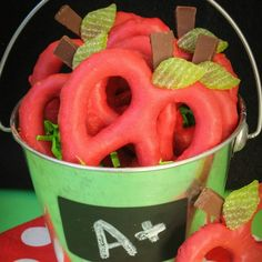 Apple Pretzels from Make Bake Celebrate we also like these from Two Sister Crafting. and Creative and Easy First Day of School Snacks.
