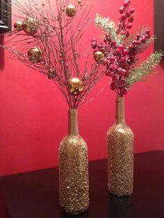 DIY Painted Wine Bottles | Epsom salt/gold spray paint DIY christmas wine ... | Vacation Bible S ...