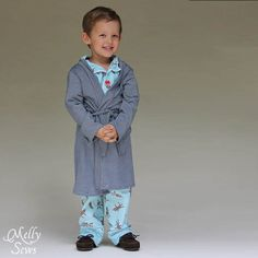The Sleepy Robe - Free Robe Pattern - Melly Sews Childrens Sewing Patterns, Sewing Patterns Free, Free Sewing, Sewing Tutorials, Sewing Ideas, Sewing Projects For Kids, Sewing For Kids, Baby Sewing, Sewing Clothes