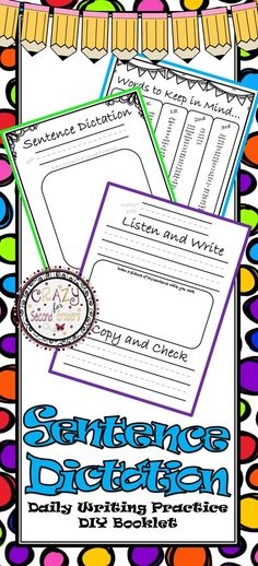 $1.25!!! Sentence dictation is a super way to have students practice their writing/spelling/grammar skills. BEST PART: It's a 10 minute daily routine! Listen to sentence_Write how you think it should look_Copy the correct sentence_check your work.