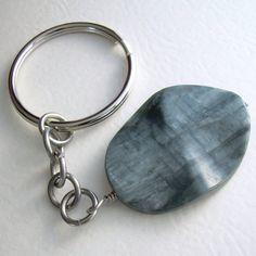 Stone Keychain Grey Eagle Eye Jasper Key Ring by cindylouwho2, $10.00