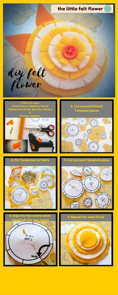 Full Tutorial on Craftsy.com to make this Flower Circle Brooch. Felt Diy, Felt Crafts, Felt Flowers, Diy Flowers, Craft Tutorials, Sewing Tutorials, Flower Circle, Felt Patterns, Print Templates