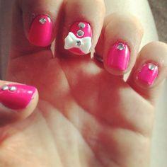 loves a girlie nail charm nails. Nail Charms, Girls Nails, Finger Painting, Rhinestone Nails, Creative Nails, Nails Inspiration, Cute Nails, Nail Designs, Polish