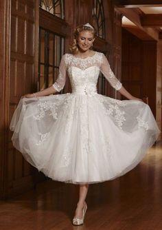 Vintage New Tea Length White/Ivory Lace Wedding Dress Custom Size All Size