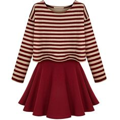 Choies Red Striped Long Sleeve Top With Cami Dress featuring polyvore, fashion, clothing, dresses, vestidos, robes, multi, long sleeve striped dress, long sleeve cami, stripe dress, longsleeve dress and striped dress