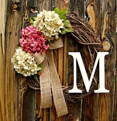 Pink and Cream Hydrangea Wreath with Monogram  by Frontporchdecor