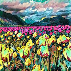 Harisson Hor Springs Tulip Festival. This #painting was made from a simple photo with a #Prisma app. #Illustration #Art #Tulips #Flowers #drawing