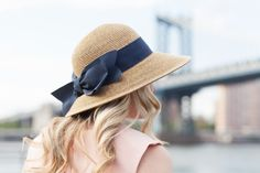 Bow Sun Hat with Navy Blue Bow // @bowsandsequins