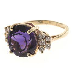 Round Amethyst Diamond 14 Karat Rose Gold Cocktail Ring