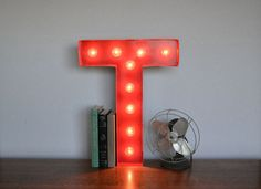 Vintage Inspired Marquee Light- Letter T