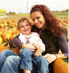Sarah Domangue, future Habitat for Humanity of Greater Sioux Falls homeowner, and her son, Jaiden.