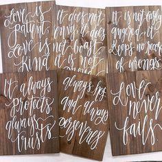 Rustic Wooden Wedding Signs // 1 Corinthians 13 by ThePaperWalrus