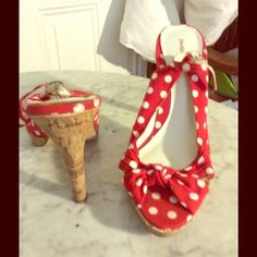 Great condition poka dot red and white sandals Very retro style, rockabilly ect Delicious Shoes Heels