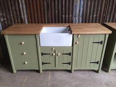 Pine Freestanding Belfast Butler Sink Unit Solid Oak Worktop Cupboard  Drawers