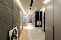 cracow_poland_private apartment by concreAte, via Behance Column Wrap, Concrete Interiors, Interior Architecture, Interior Design, Hallway Lighting, Poland, Sweet Home, Wall Lights, House