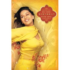 BollyXpress Birthday card featuring the song 'Bholi si surat' from Yash Raj Films' 'Dil to pagal hai' Yash Raj Films, Birthday Gift Cards, Madhuri Dixit, First World, New Dress, Musicals, Bollywood, Greeting Cards, Songs