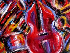 Debra Hurd Original Paintings AND Jazz Art-Available at http://debrahurd.blogspot.com/2014/02/abstract-jazz-music-painting-bass-piano.html