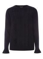 Womens Navy Ruffle Cable Jumper- Blue