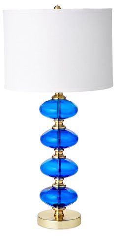 Cece Stacked Orb Table Lamp, Blue