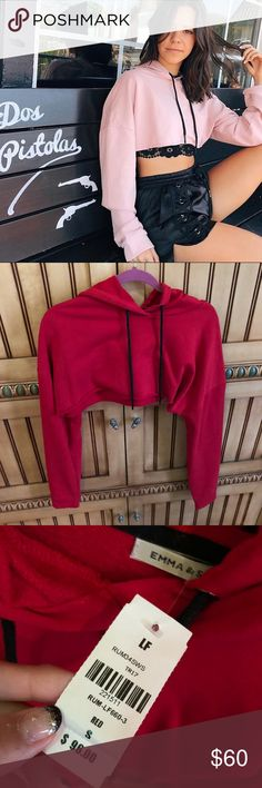 NWT LF red cropped hoodie From Emma and Sam. new! LF Tops Sweatshirts & Hoodies