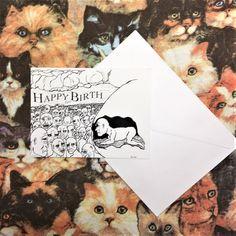 Birthday card Belly Button Funny Dark humor original art by artist Johnny Strack #Unbranded #BirthdayAdult