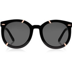 Karen Walker Black Super Duper Strength Rose Gold-Tone Sunglasses ($270) ❤ liked on Polyvore featuring accessories, eyewear, sunglasses, glasses, black glasses, black round sunglasses, round frame sunglasses, black sunglasses and beach sunglasses