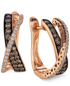 Le Vian Diamond Chocolate Diamond and White Diamond Crisscross Hoop (1 ct. t.w.) in 14k Rose Gold. This is one of our favorite designs, and we have the matching ring!
