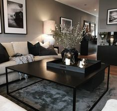 go=decoration salon appartement - PDF documents Home Living Room, Apartment Living, Living Room Designs, Black Living Room Furniture, Black Living Rooms, Apartment Ideas, Decorate Apartment, Modern Apartment Decor, Living Room Paint